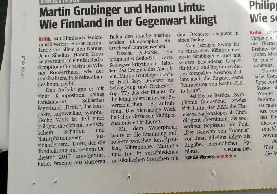 Lisää terveisiä Wienistä: Kurier antoi kritiikissään RSO:n konsertille neljä täh…